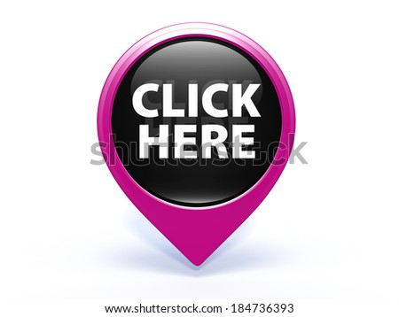 Click here pointer icon on white background - stock photo