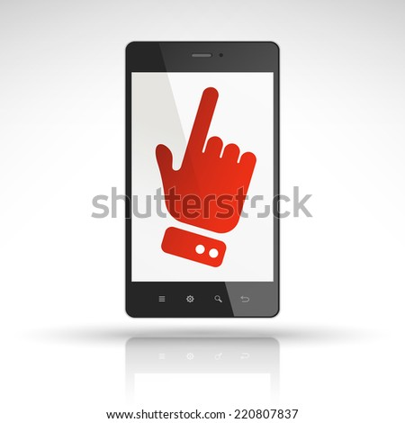click icon on mobile phone isolated on white  - stock photo