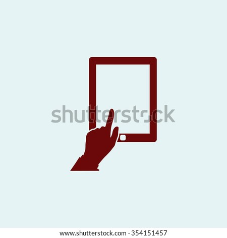 click tablet Red flat icon. Simple illustration pictogram - stock photo
