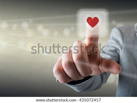 Click the heart icon - stock photo