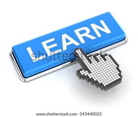 Clicking a learn button, 3d render, white background - stock photo