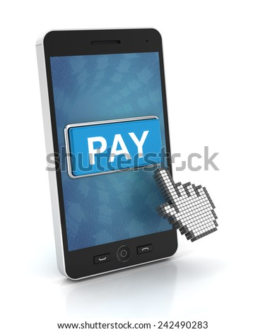 Clicking a pay button on a smartphone, 3d render - stock photo
