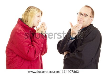 Client begs the lawyer for help - stock photo