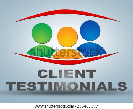 Client Testimonials illustration concept on grey background with group of people icons - stock photo