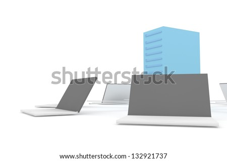 client to server concept - stock photo