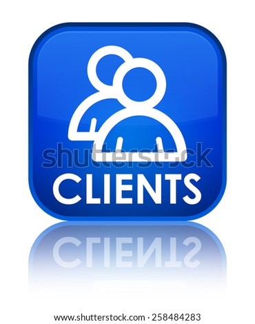 Clients (group icon) blue square button - stock photo