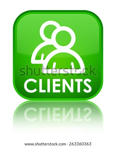 Clients (group icon) green square button - stock photo