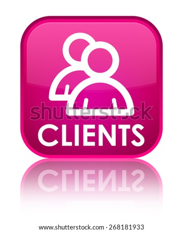 Clients (group icon) pink square button - stock photo