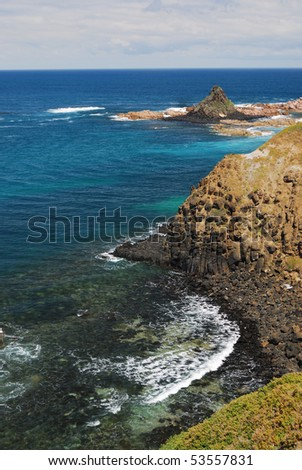 cliff and ocean - stock photo