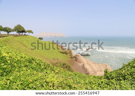 Cliff at Miraflores District in Lima, Peru near Pacific ocean - stock photo