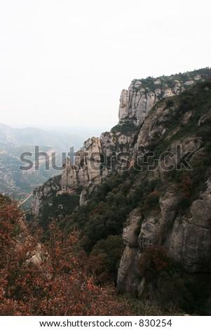 Cliff at Montserrat in Spain. - stock photo
