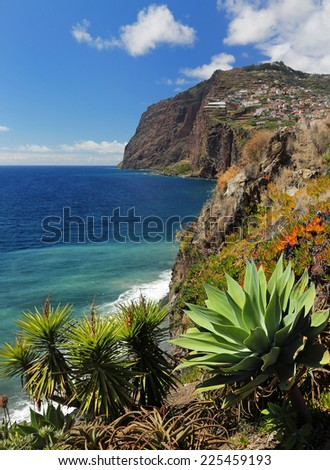 Cliff Cabo Girao at southern coast of Madeira  Portugal  - stock photo