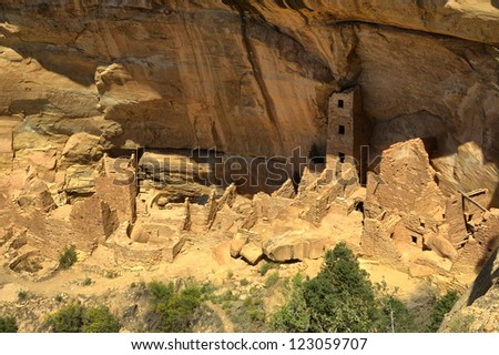 Cliff Dwellings at Mesa Verde National Park, USA - stock photo