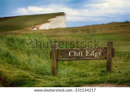 Cliff edge warning in Dover. - stock photo