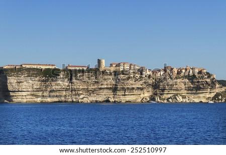 Cliff in Bonifacio, Corsica, France. - stock photo