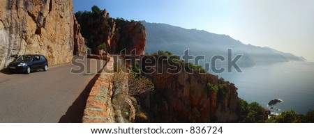 Cliff line road panoramic view - stock photo