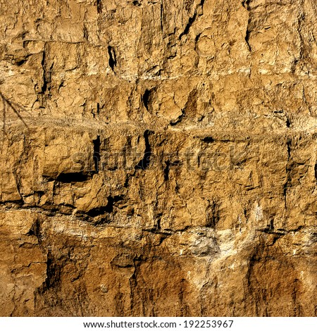 Cliff of the Brown Clay Background - stock photo
