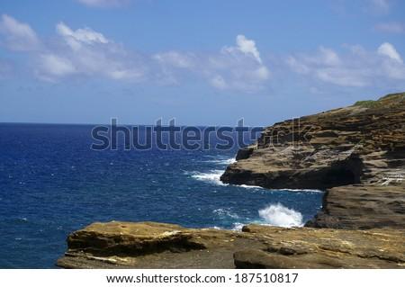 Cliff off Oahu, Hawaii - stock photo