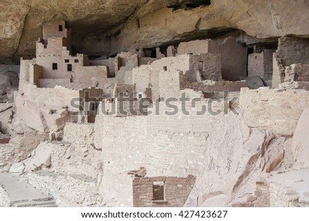 Cliff Palace, ancient puebloan village of houses and dwellings in Mesa Verde National Park, New Mexico, USA - stock photo