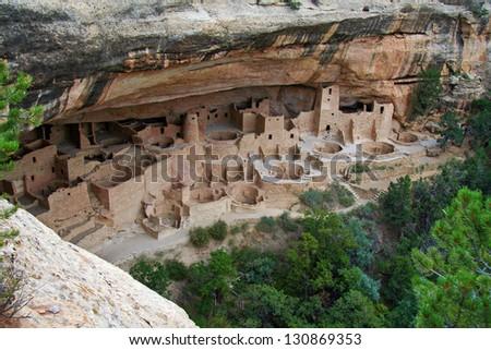 Cliff Palace at Mesa Verde - stock photo