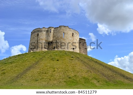 Cliffords Tower at green mountain - stock photo