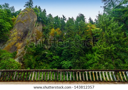 Cliffs and lush green forest towering above railing of historic Highway 30 in the Columbia River Gorge in Oregon - stock photo
