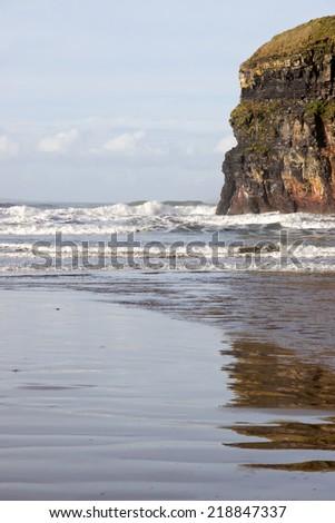 cliffs of Ballybunion on the wild atlantic way in county Kerry Ireland - stock photo