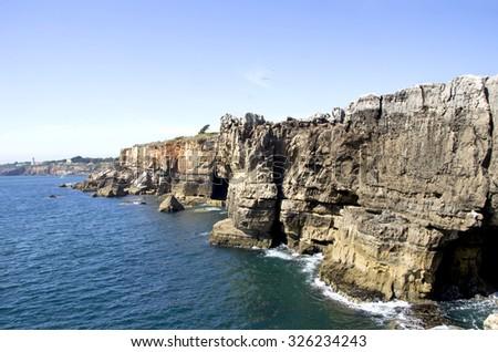 Cliffs of Boca de inferno in Cascais (Portugal) - stock photo