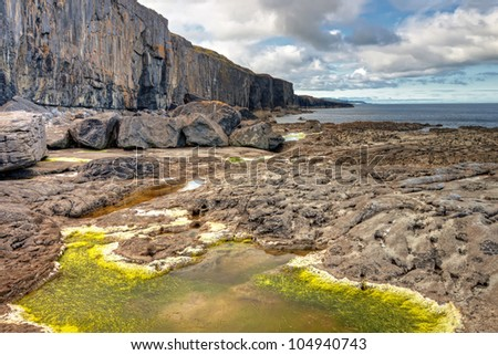 Cliffs of Fanore scenery in Ireland. - stock photo