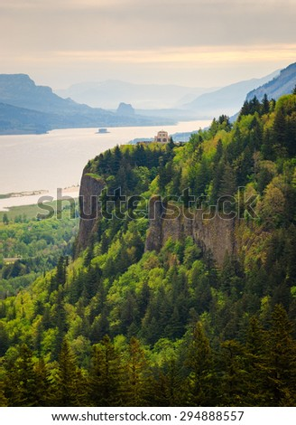 Cliffs of Portland Women's Forum State Park at Columbia, Columbia Gorge - stock photo