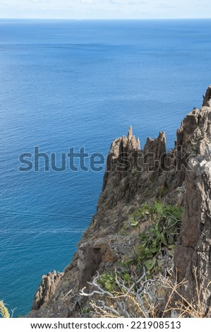 cliffs of Tenerife in the Canary Islands - stock photo