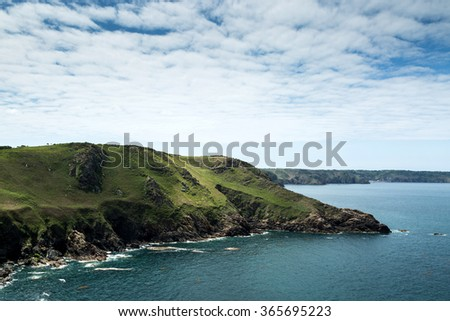 Cliffs on the Island of Jersey in the English Channel - stock photo