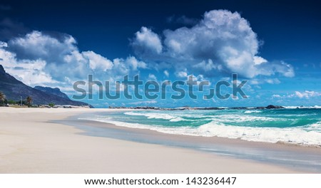 Clifton beach, Cape Town, South Africa, paradise beach, luxury tropical resort, panoramic seascape, sunny day, summer holiday and vacation concept - stock photo