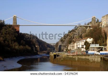 Clifton Suspension Bridge, Bristol, UK, under clear blue sky. - stock photo