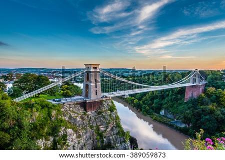 Clifton Suspension Bridge, Bristol, UK with sunset  - stock photo