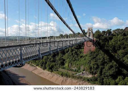 Clifton Suspension Bridge is a toll bridge spanning the Avon Gorge and the River Avon  in Bristol  - stock photo