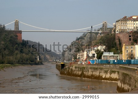 Clifton suspension bridge over the river avon in Bristol - stock photo
