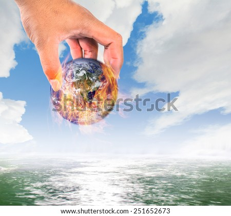 Climate change,Global warming, fire global put in water, safe the earth concept - stock photo
