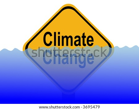 Climate change sign with rising water level illustration - stock photo