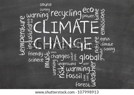 climate change word cloud - stock photo