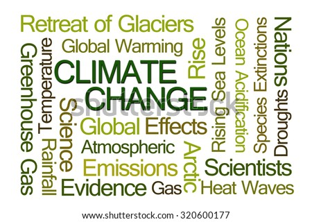 Climate Change Word Cloud on White Background - stock photo
