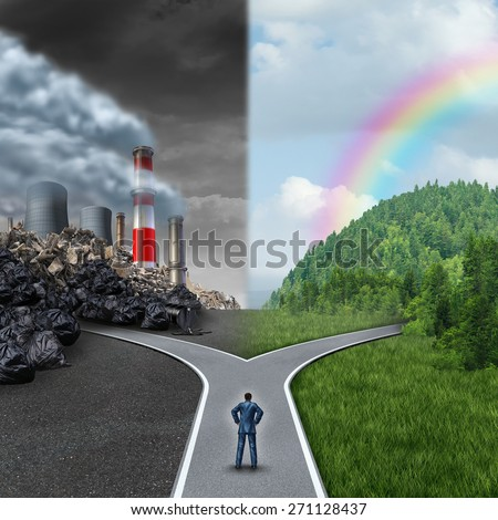 Climate choice concept as a person standing at a cross road between an unhealthy scene with polluted dirty air contrasted with a green healthy horizon of plants and clean air for global ecology. - stock photo