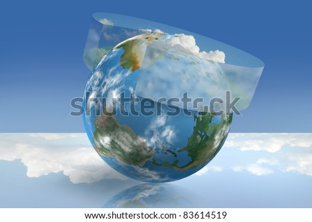 Climate control technology illustrated with an atmospheric pie chart - stock photo