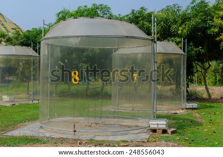 climatic chamber for plant response to greenhouse effect experiment,Thailand - stock photo