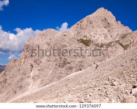 climber in Dolomites - stock photo