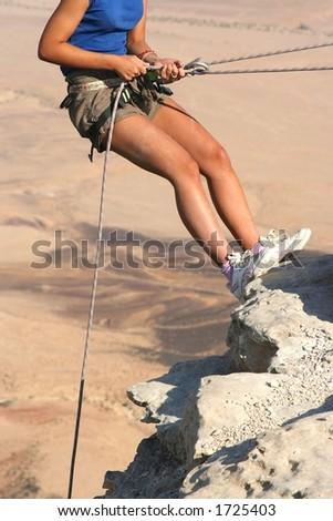 Climber in the Desert - stock photo