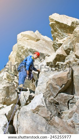climber in the mountain - stock photo