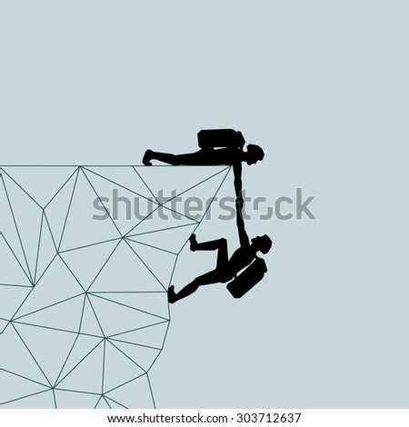 Climber man pulls the mountains. Help. Salvation. Lifeguard.  illustration scale of any size. All elements are grouped. - stock photo