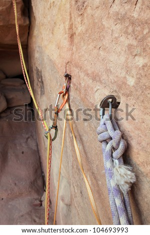 Climber on the wall. - stock photo