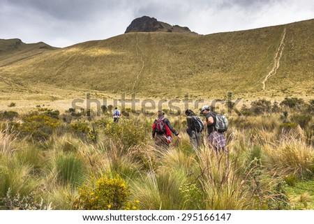 Climbers ascending the mountain Fuya Fuya, Andes, Ecuador - stock photo